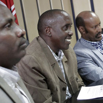 Cabinet Secretary Joseph Ole Lenku meeting leaders from Marsabit county