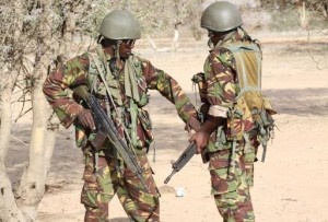 Kenyan Soldiers Guard Checkpoint Near Somalia border