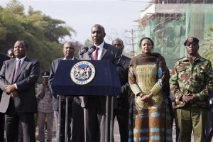 Kenya's Interior Minister Lenku speaks during a news conference near the Westgate shopping mall in Nairobi