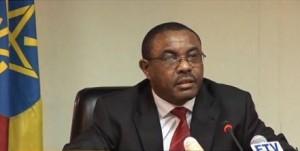 Ethiopian Prime Minister Hailemariam Desalegn speaking to the press