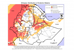 Map of Endemic Malaria in Ethiopia
