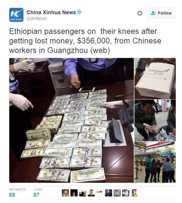 Workers in China return 356,000 dollars to Ethiopian passengers who lost the money