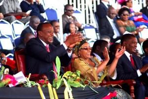 President Uhuru Kenyatta and First lady Margaret Kenyatta at the Mashujaa day celebrations
