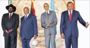 President Uhuru Kenyatta, Paul Kagame of Rwanda, Uganda's Yoweri Museveni and Salva Kiir of South Sudan